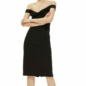 Topshop Twist Front Bardot Off The Shoulder Dress